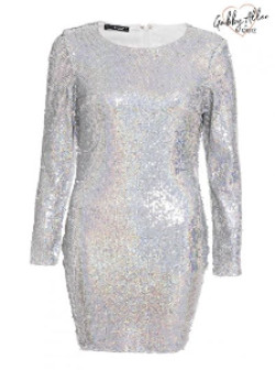 Gabby's Silver Hologram Stretch Long Sleeve Sequin Dress