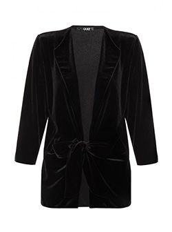 Black Velvet Tie Waist Jacket