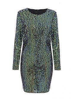 Gabby's Green Velvet Sequin Long Sleeve Bodycon Dress